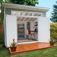 This shed from Costco costs $1000.00 and is 10' x 7.5'. The patio is not included. What an amazing backyard office!