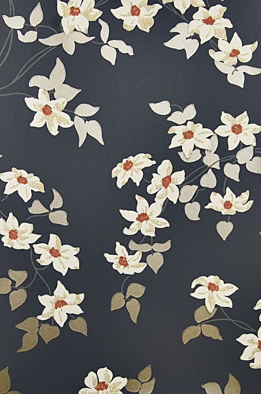 Malleny Floral Wallpaper Floral print wallpaper of delicate flowers and metallic leaves on dark blue background with red shocks.