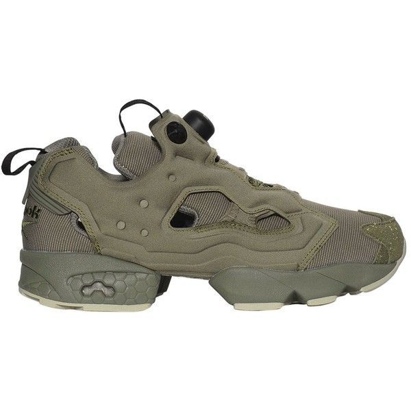 Reebok Classics Women Instapump Fury Nylon Sneakers ($165) ❤ liked on Polyvore featuring shoes, sneakers, military green, slip on trainers, olive green sneakers, olive green shoes, slip on shoes and reebok trainers
