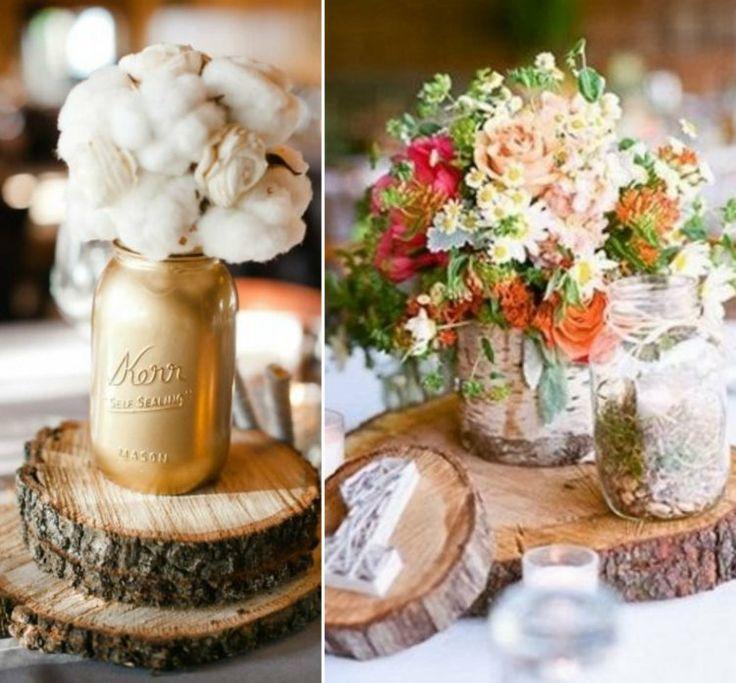 103 id es de d co mariage champ tre atmosph re naturelle rondelles de bois fleur de coton. Black Bedroom Furniture Sets. Home Design Ideas