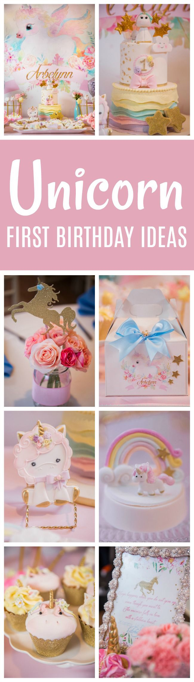 wording ideas forst birthday party invitation%0A Baby Unicorn Themed First Birthday Party