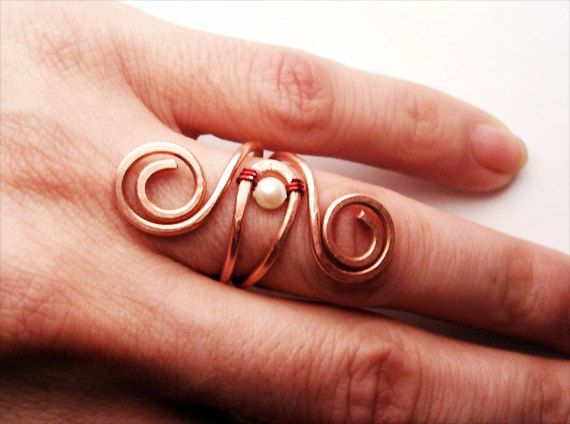 Wire+Wrapped+Adjustable+Copper+Ring++Handmade+by+GearsFactory,+€13.00