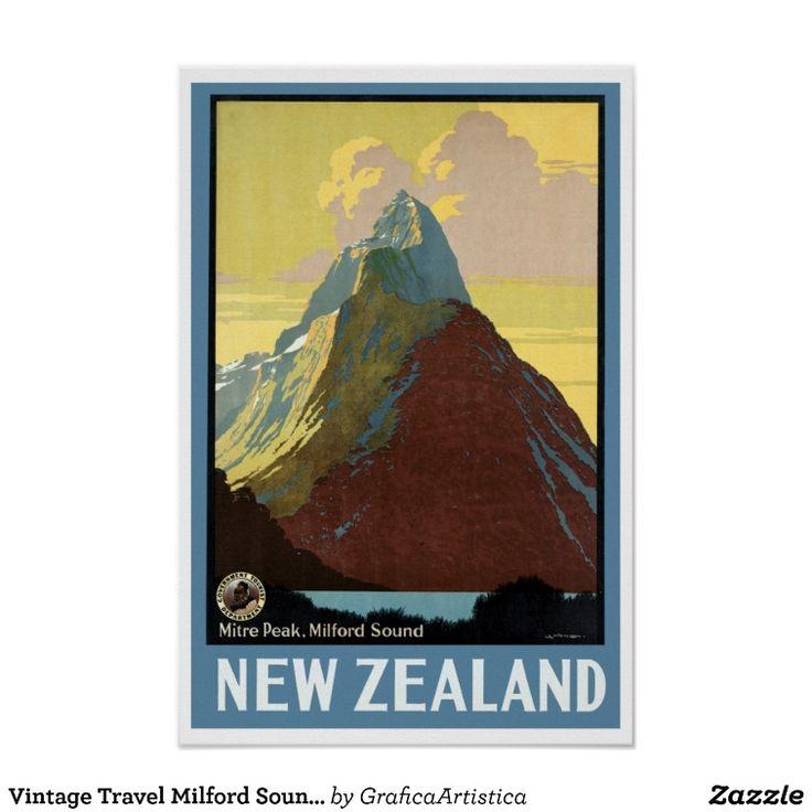 Vintage Travel Milford Sound New Zealand Poster
