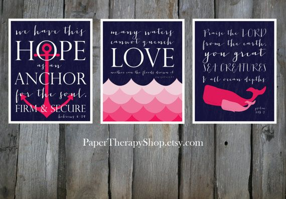 3 Nautical Prints based on Bible verses, Water, WHALE, and ANCHOR 8x10 in Navy and Pink on Etsy, $40.00