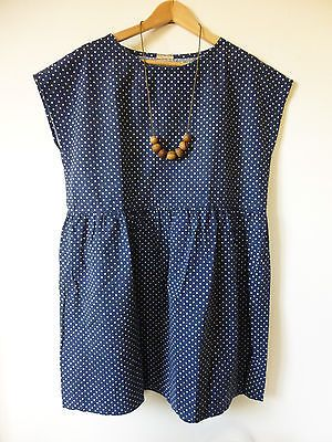 Handmade-Cotton-Navy-Polka-Dot-Tunic-Dress-Relaxed-Fit-M