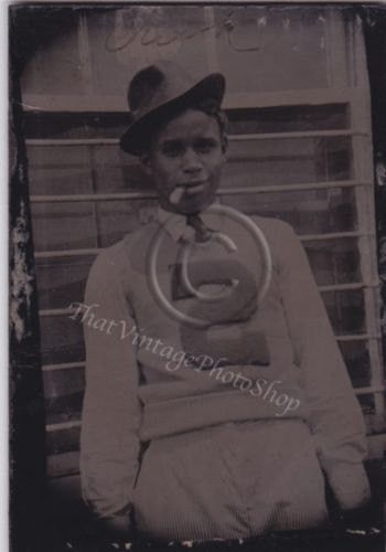 Vintage photo - dapper African American smoking teen - letterman sweater
