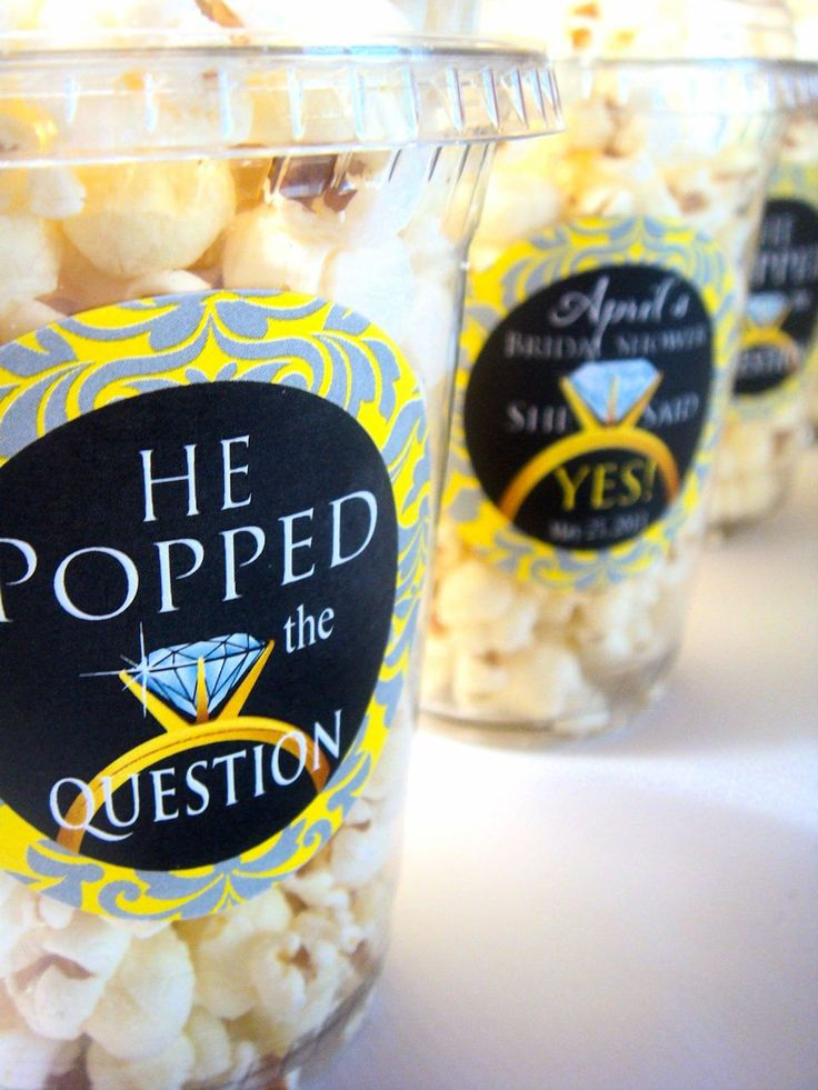 Popcorn Boxes He Popped the Question, Engagement Party, Bachelorette Bridal Shower. $30.00, via Etsy.