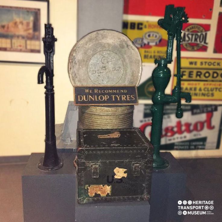 The old Accessories like toolboxes for spare parts, tire boxes and old hand pumps find their space within the Motor Filling Station!  #caraccessories #vintagecollection #toolbox #transportmuseum #museum #gurugram #incredibleindia #manesar #exhibit #explore