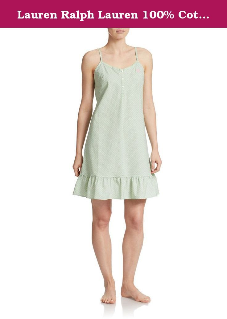 Lauren Ralph Lauren 100% Cotton Hither Lane Women's Chemise (Large, Green/Garden Party). Ruffles along the hem lend feminine charm to this pure cotton poplin chemise. Fully-adjustable straps. V-neck with button placket. Embroidered logo at left chest. Cotton. Machine wash. Imported.
