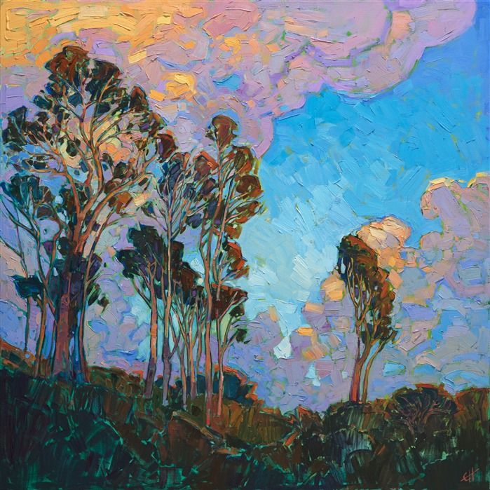 San Diego Eucalyptus And Clouds Oil Painting By Local Artist Erin