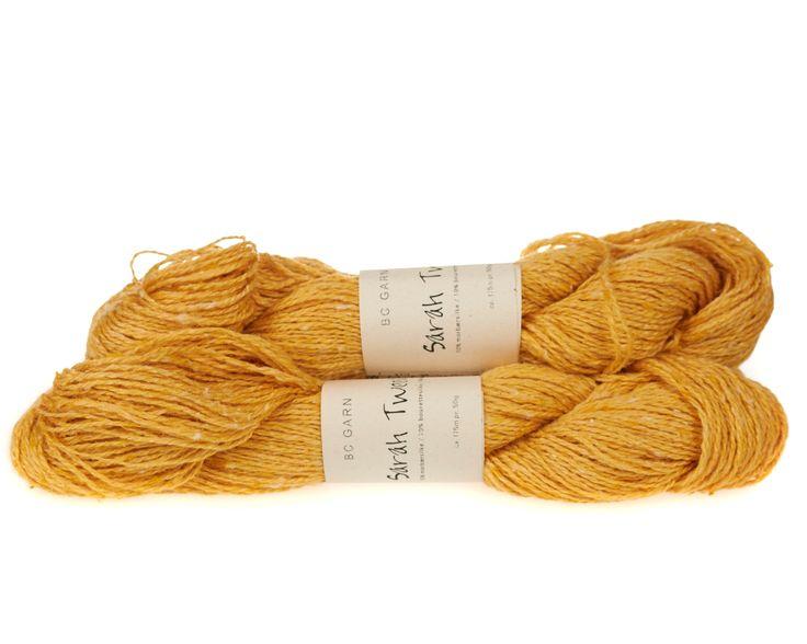 Sarah Tweed lækkert uld / silkegarn - Gul - 59 kr. per fed á 50 gram