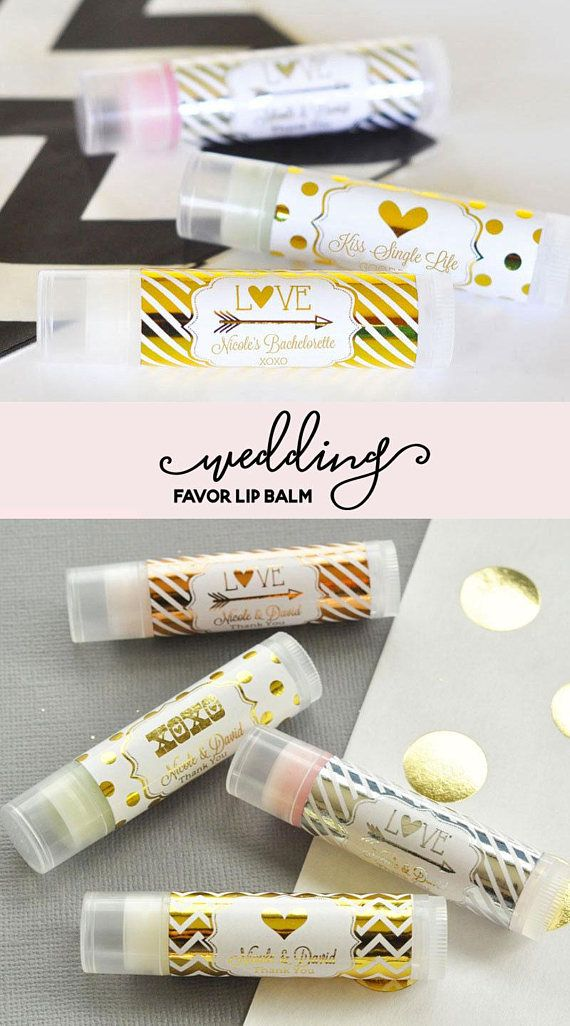 Personalized Wedding Lip Balm Favors make a practical and useful favor for guests - Metallic Gold & Silver Foil Wedding Lip Balm Tubes are all natural, and infused with organic oils and shea butter. They will surely make your guests feel pampered; this is one favor they wont leave behind!