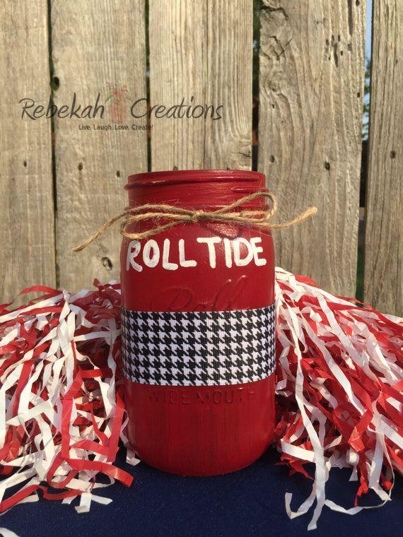 University of Alabama Mason Jar by RebekahCreations on Etsy