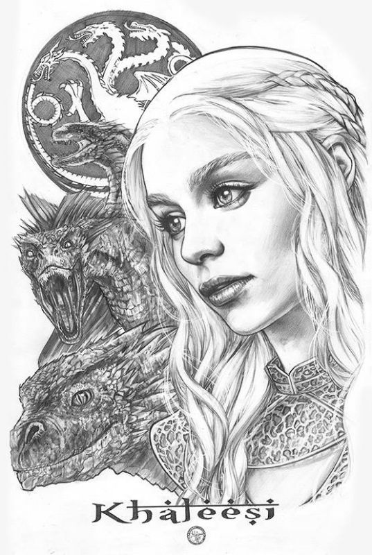Daenerys Targaryen Game Of Thrones Original Art By