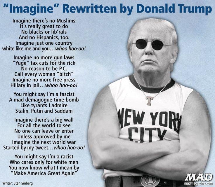 """IMAGINE"" rewritten by Donald Trump"