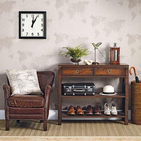 Neutral hallway with dark wood furniture   Hallway decorating   Ideal Home   Housetohome.co.uk