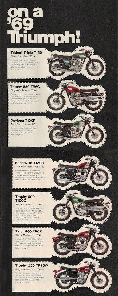 Here's a snap shot of Triumphs line up in 1969. I'd be happy to have any one of these sitting in my garage!