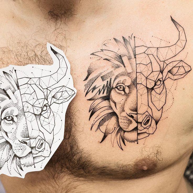 Das Tattoo mi lion / mid bull, mi graphic / mid geometric. Vielen Dank Flo !! #art #artist #tattoo #liontattoo #geometrictattoo