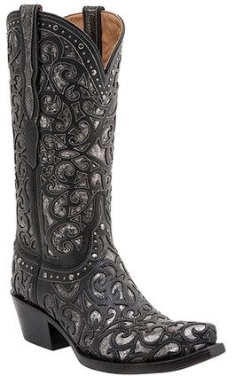 """M4842 *NEW* Lucchese Since 1883 Womens Sierra Boot - Black M4842 Vamp: Black Quarter: Black Ladies Shaft: 13"""" Inspired by Old Western glamour, this boot's elaborate spirals are lasercut onto its calf"""