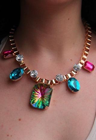 Multi-Sparkle Statement Necklace