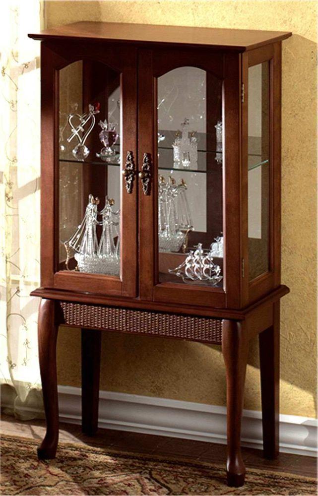 ELEGANT BIRCH FINISH CURIO CABINET Cabinets Pair Queen Anne Cherry Display Set
