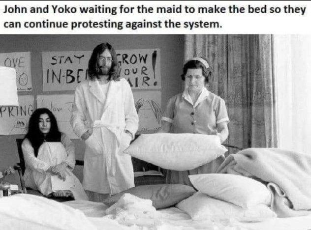 A Working Class Hero Waits On A Servant To Make His Bed John Lennon And Yoko Yoko John Lennon