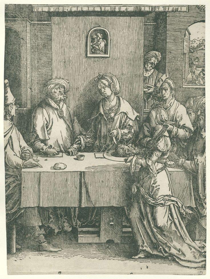Lucas van Leyden   Salomé met het hoofd van Johannes de Doper, Lucas van Leyden, 1512 - 1516   Salomé met het hoofd van Johannes de Doper op een schaal, Herodias en Herodes aan tafel gezeten. Op achtergrond onthoofding van Johannes.