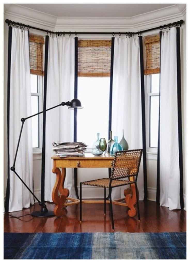 Curtains In A Bay Windowbamboo Shades Oh Would This Look Good The Upstairs Sunroom