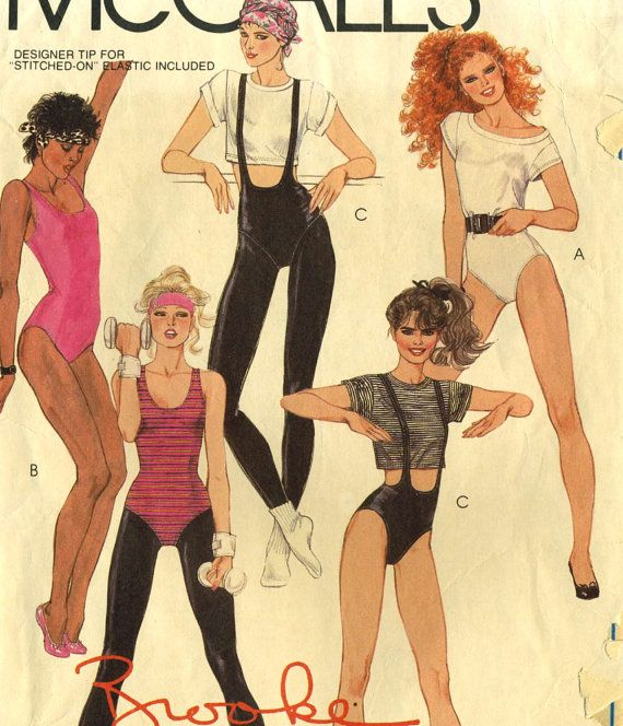 *FUCK YES nailed it  Vintage 1980s McCalls 9102 CUT Workout Clothes-T-Shirt, Leotard, Bodysuit, Stirrup Tights Sewing Pattern Size 10 Bust 32.5. A Brooke Shields pattern.