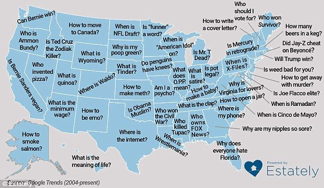 Although the well-known Mojave Desert occupies a significant portion of south-eastern California, residents have to check with the search giant on how to spell 'desert'. Not only do Americans have issues spelling commonly-used words, they have also ask Google some interesting questions and its all shows in this map
