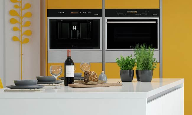 Academy Rococo Handleless in White with Yellow contrast. Available in lots of different colours.