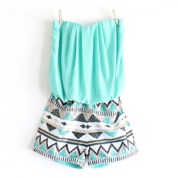 paper hearts aztec print sequin shorts romper   turquoise – shophearts
