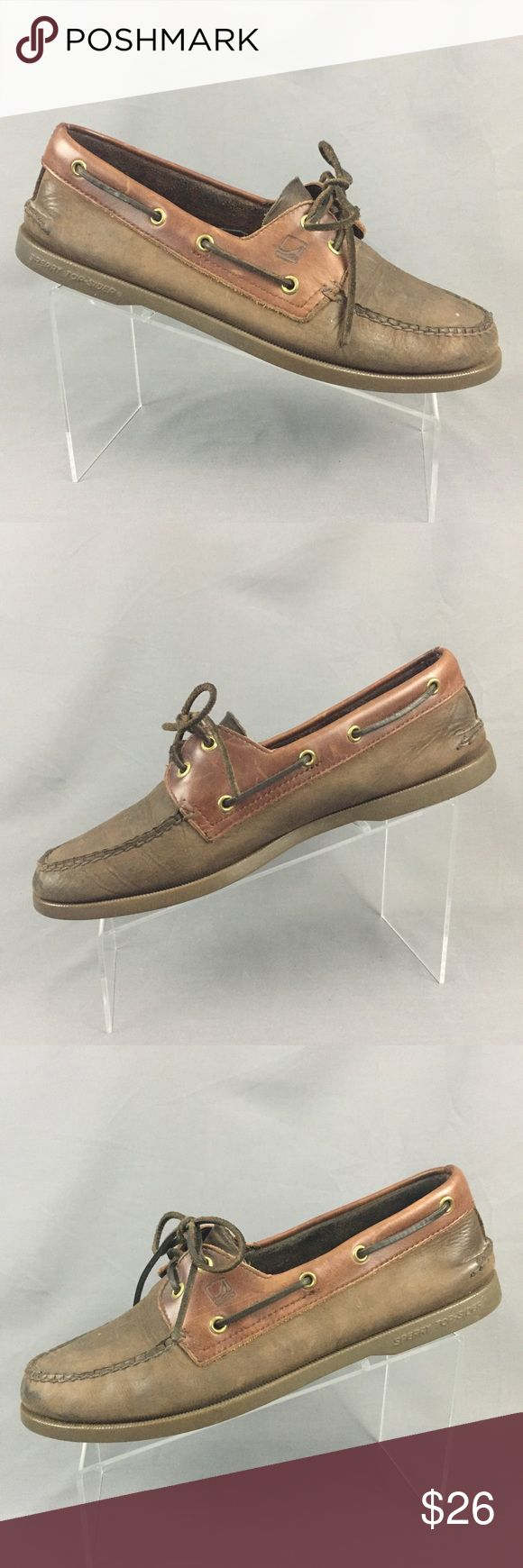 Sperry Boat Shoes Mens 11 Brown Leather 2 Tone Sperry Top Sider 2 Eye Boat Shoes Men's size 11 US 2 tone brown leather upper Rawhide laces Good used condition with normal wear and fading. Please refer to pictures for details and feel free to ask questions prior to purchasing. Sperry Shoes Boat Shoes