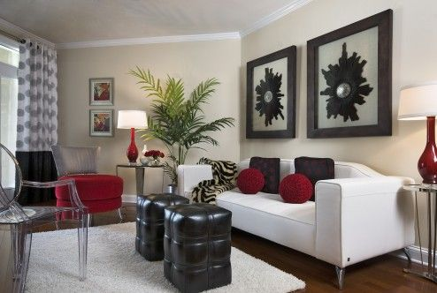 Decoration, This Admirable Small Modern Apartment Living Room Design With Amazing White Leather Sleeper Sofa And Nice Transparent Acrylic Chair Also Cool Black Leather Ottomans Need Creative Modern Fireplace To Add Warmth ~ Awesome Creative Fireplaces Warming Room Situation