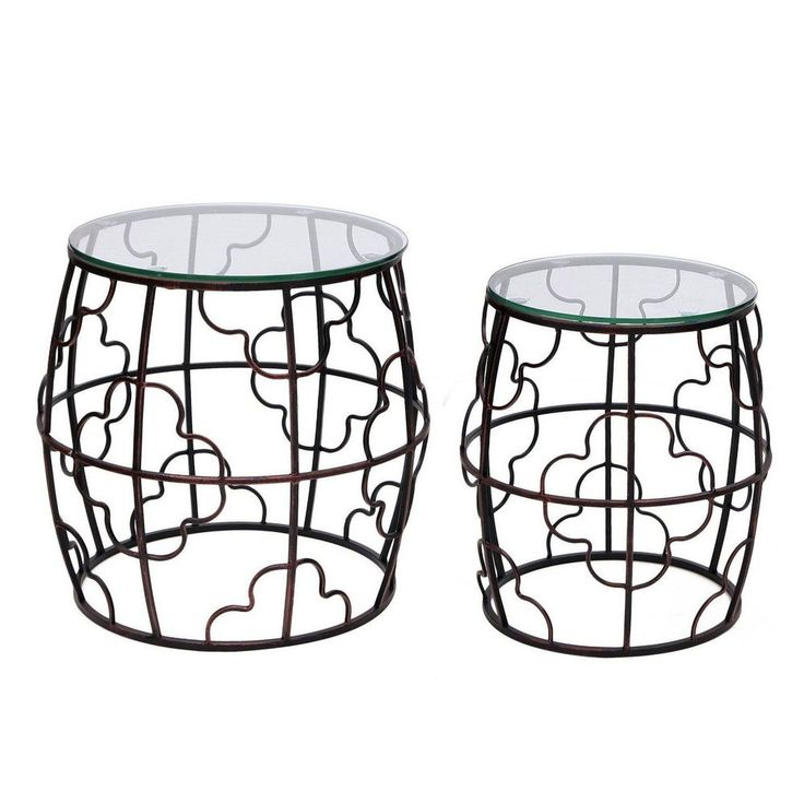 Nesting Iron End Table Metal Set Of 2 Coffee Modern Living Room Furniture Home  #NestingIronEndTable