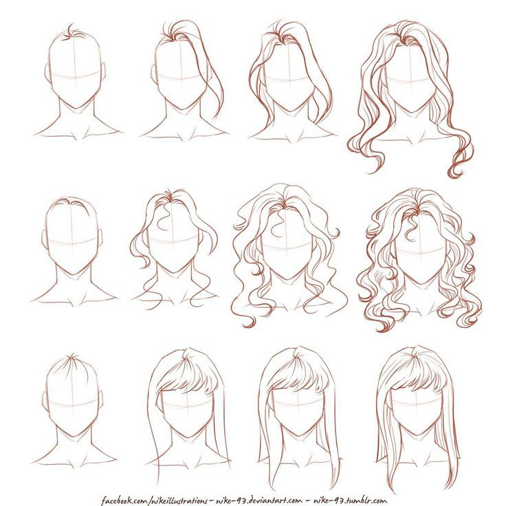 Hairstyles Anime Female Long In 2020 Face Drawing How To Draw Hair Long Hair Drawing