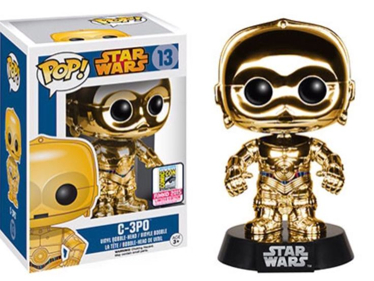 STAR WARS SDCC EXCLUSIVE C-3PO FUNKO POP CHROME GOLD COMIC CON CONVENTION RARE