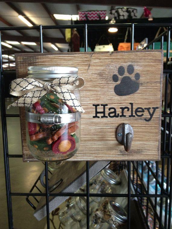 Mason Jar Dog Treat/Leash Holder Cinnamon by OutoftheWdworkDesign, $23.00