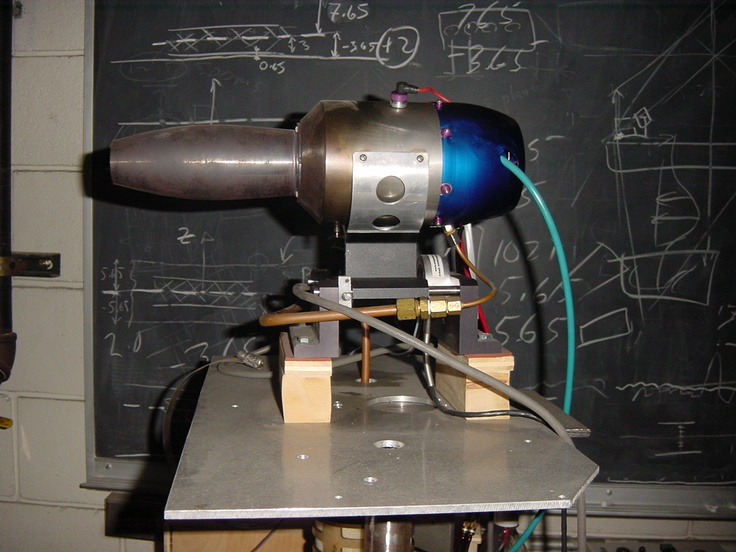20 lbs thrust  fully operational turbo-jet engine for student experiments. This is a small propulsion unit rotating at about 120,000 rpm.