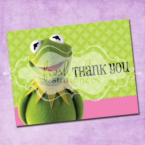 Muppets Animal Free Printable: Kermit The Frog Folded Thank You Card