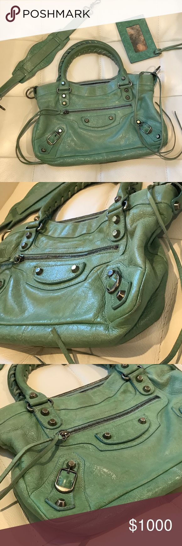 Balenciaga Vintage 2004 Seafoam First w/Pewter Hw - Exterior: Minimal wear on corners and body. Beautiful Chèvre.  - Handles: Stiff and rigid w/ Slight wear & Some discoloration (see pics!) - Hardware: Ok Condition - Interior Tag: Normal Wear - Interior Lining: Clean  - Odor: None Balenciaga Bags Shoulder Bags