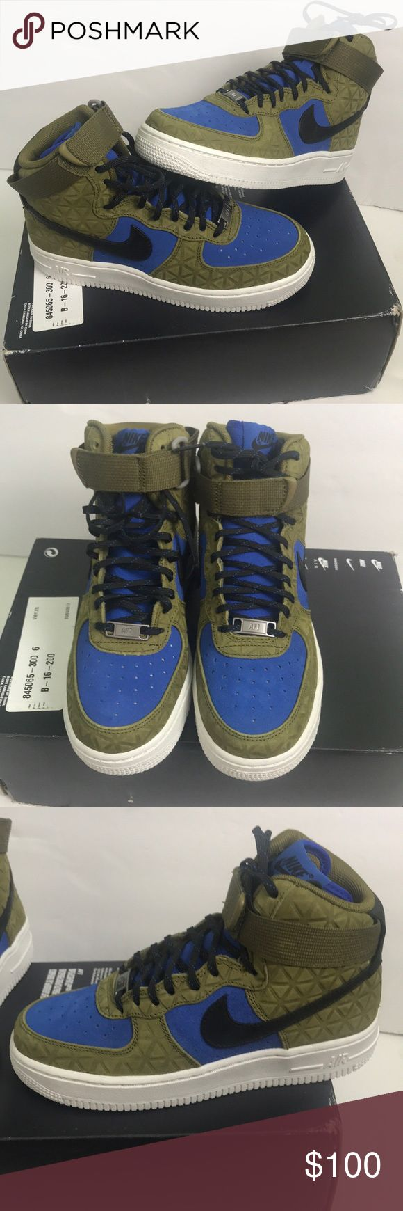 Nike WOMEN'S Air Force 1 premium Suede size 6 Amazing and rare women's Air Force 1! These sneakers are olive green, royal blue, and black. Amazing quilted pattern on the sneaker adds a pop to an already nice shoe! Very nice Suede material. WOMEN'S size 6. Brand New in box! Please note the box does not have a lid. Add this to your collection today! Nike Shoes Sneakers