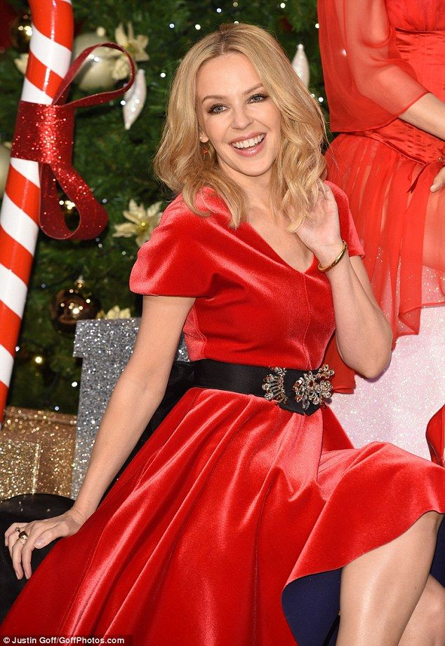 Festive fun: Kylie was thrilled to unveil her festive wax work at Madame Tussauds in London, on Tuesday