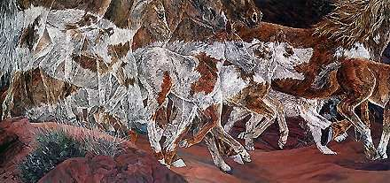 Three Wolves - Judy Larson - World-Wide-Art.com - $305.00 #JudyLarson
