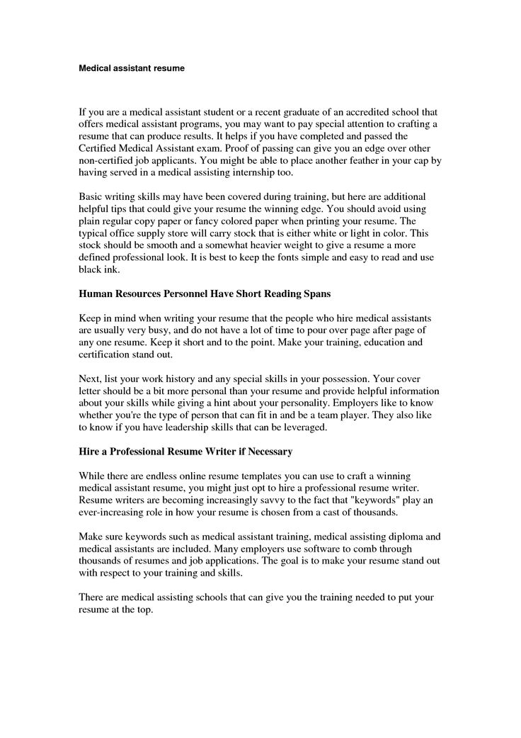 The 25+ best Medical assistant cover letter ideas on Pinterest - medical assistant resume templates