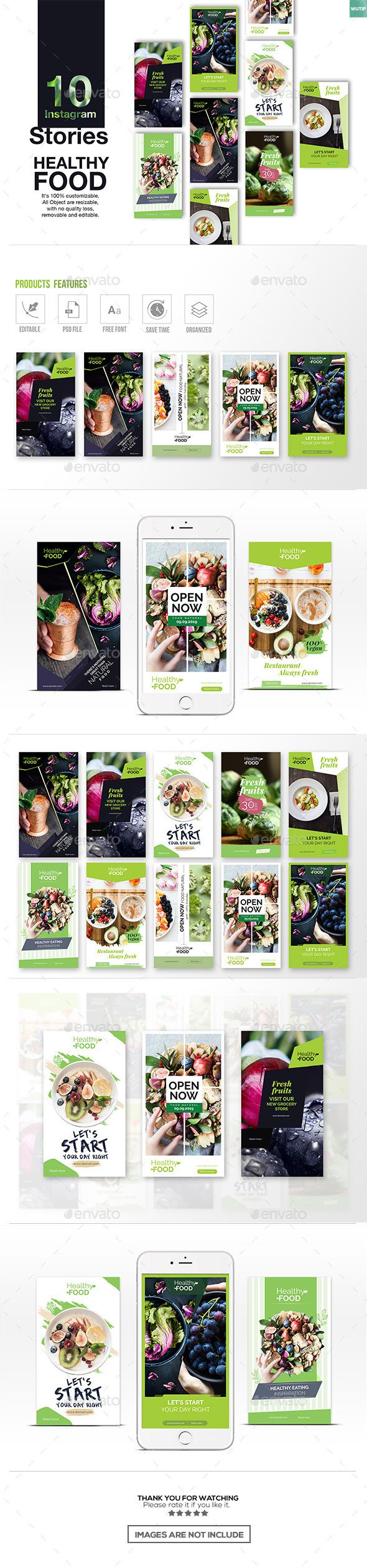 10 Instagram Stories  Healthy Food — Photoshop PSD #promotional #foodstuff • Available here ➝ https://graphicriver.net/item/10-instagram-stories-healthy-food/21010981?ref=pxcr