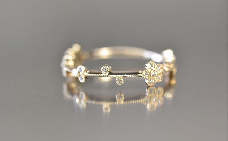 Gold Diamond Cluster Ring by Kataoka in platinum $2180