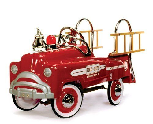 American Retro Deluxe Red Fire Truck by American Retro. $289.00. AR-2003 Features: -Inspired by the ''sad face'' vehicles of the 1940's.-Red with white decals.-Flashing red light.-Ideal for 3 to 6 year olds.-Chip and rust resistant, child safe, non-toxic powder coating.-Wooden ladders.-Ball bearing pull bars and rear axle hangers.-Solid rubber tires, 5/8'' thick. Construction: -Made of heavy gauge steel. Assembly Instructions: -Some assembly required. Dimensions...