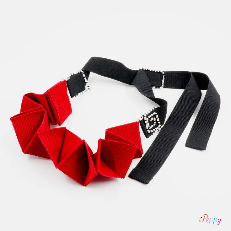 Red Lavish Origami Necklace // Necklace For Women // Origami Necklace // Beaded Necklace // Red Necklace // Grosgrain // Handmade Necklace #necklace #rednecklace #origami #ipeppy #handmadenecklace #jewelry #beads #grosgrain #statement #christmas #red #black #adjustable #unique #gift #handmade #women