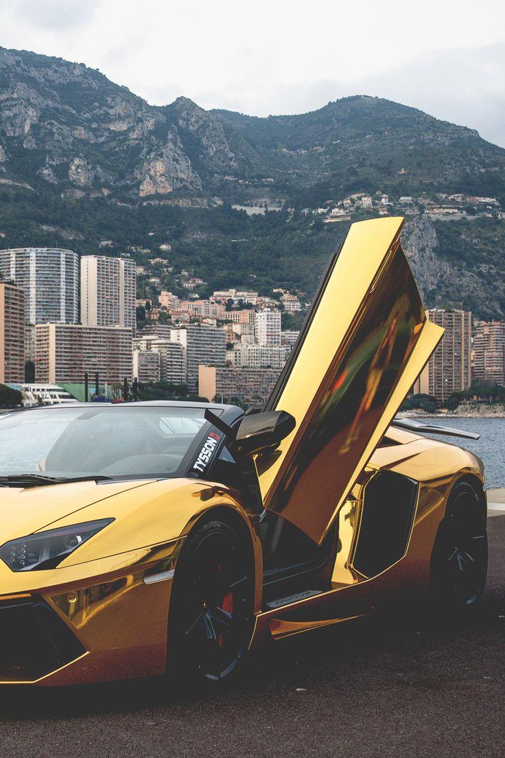 Gold Chromed Lamborghini Aventador #luxecars #luxurycars #supercars                                                                                                                                                      More
